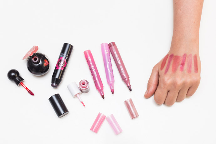 lip stains swatches
